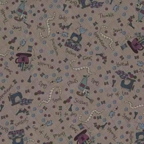Tissus Patchwork Pins and Needles Tissu Couture sur fond gris