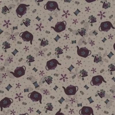 Tissus Patchwork Pins and Needles Tissu Tasses sur fond violet