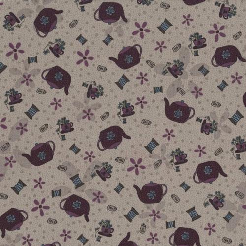 Tissus Patchwork Pins and Needles Tissu Tasses sur fond gris