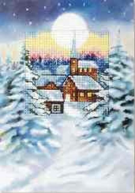 Carte en couleur à broder 'Village sous la neige' 6233