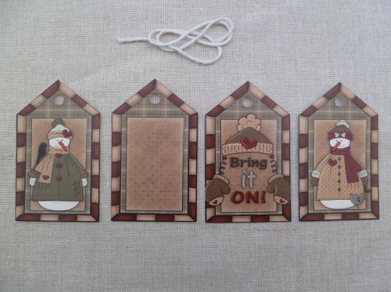 Lot de 4 Etiquettes Messages Country Noël