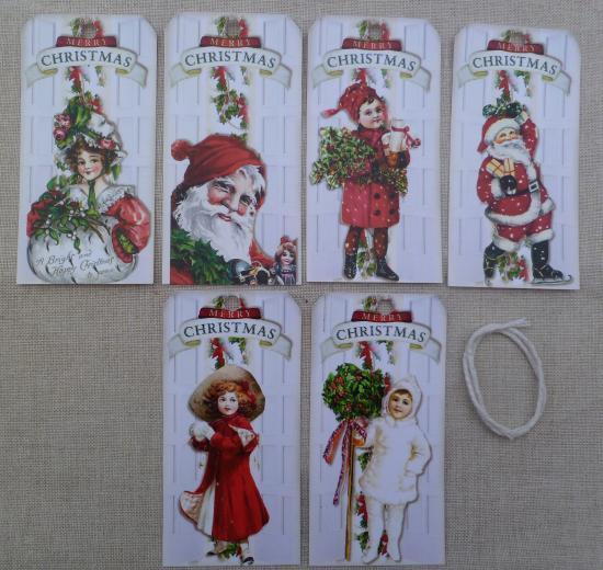 Lot 6 Etiquettes Merry Christmas