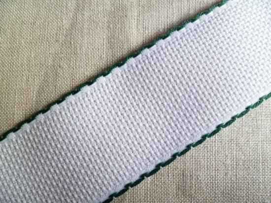 Bande Aïda Blanche 5.5 Liseré Vert 5 cm