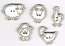 Lot de 5 Boutons Laqué Blanc Animaux 3
