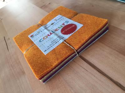 Assortiment de feutrine de laine 12 carrés de 15 x 15 cm AUTOMNE