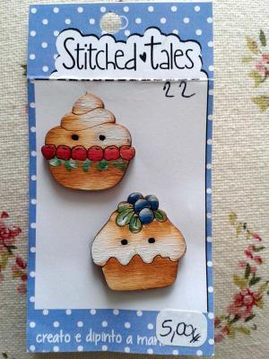 Lot de 2 Boutons Bois Cupcakes B305-22