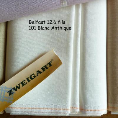 Toile à Broder Zweigart  de Lin Belfast 12,6 Fils Blanc Antique 101