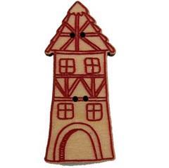 Bouton Maison de village haute rouge BLA031-287  Au P'tit Bonheur