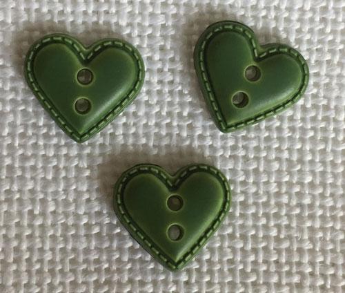 Bouton Coeur Enfant Façon Cuir 12 mm Vert