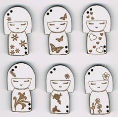 Lot de 6 Boutons Laqué Blanc Kokeshi