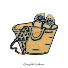 Bouton sac de plage gravure bleu marine BLG021-374