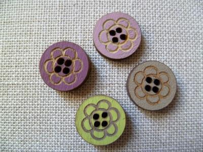 Lot de 4 boutons ronds fleurs 01