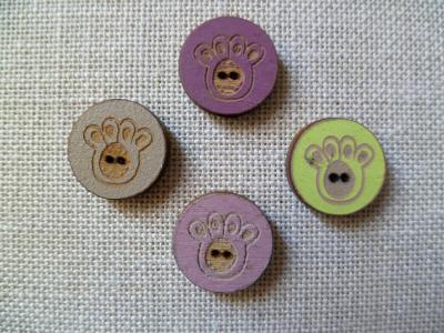 Lot de 4 boutons ronds pattes chats 01