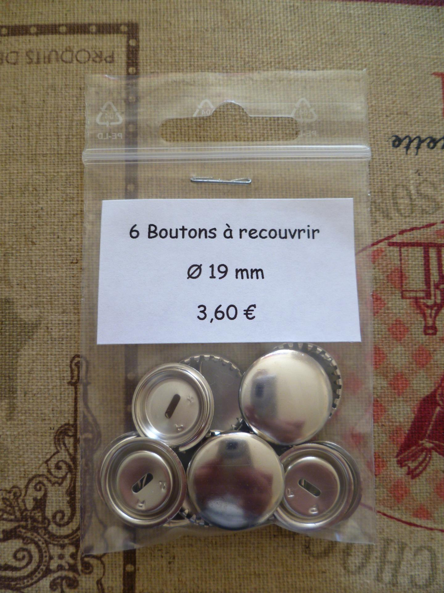 Boutons a recouvrir o19mm