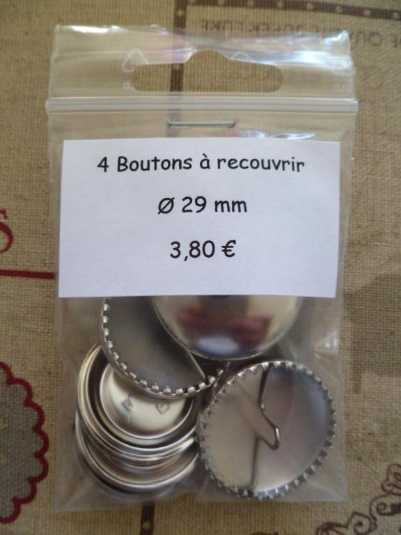 4 Boutons à recouvrir en métal argenté Ø 29mm