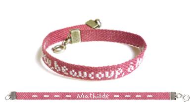 Bracelet à broder et à personnaliser rose PC009