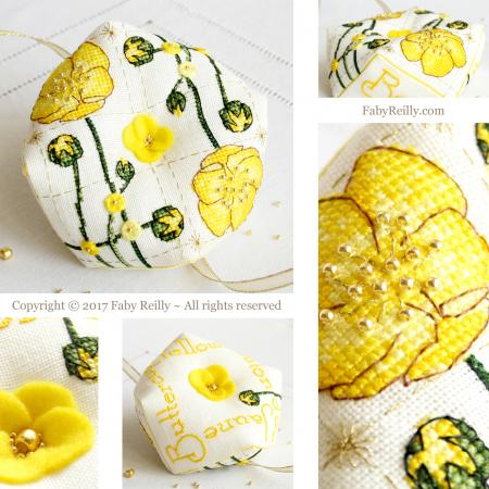 Buttercup biscornu faby reilly designs