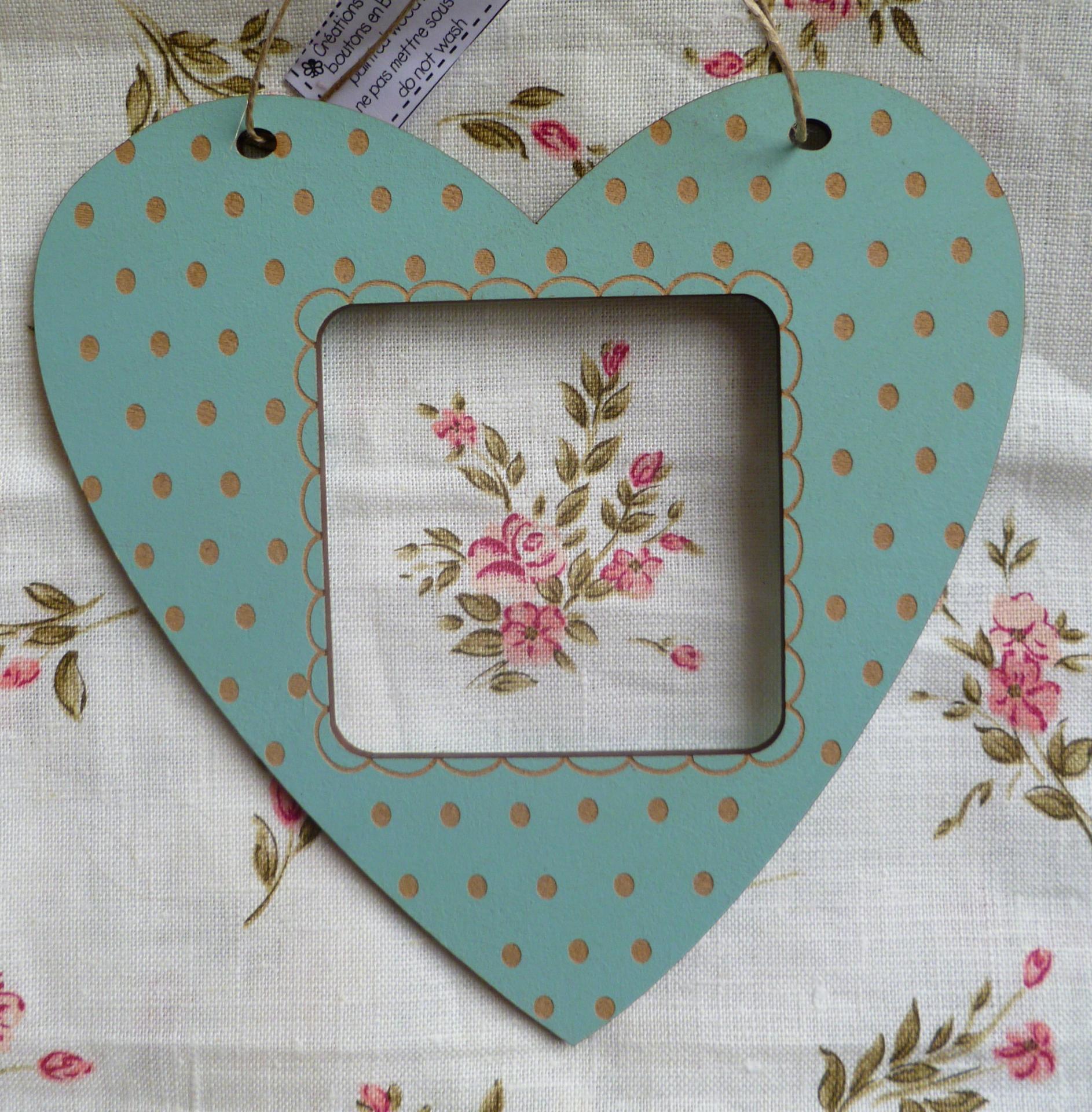 Cadre coeur pois bleu vintage tc17v
