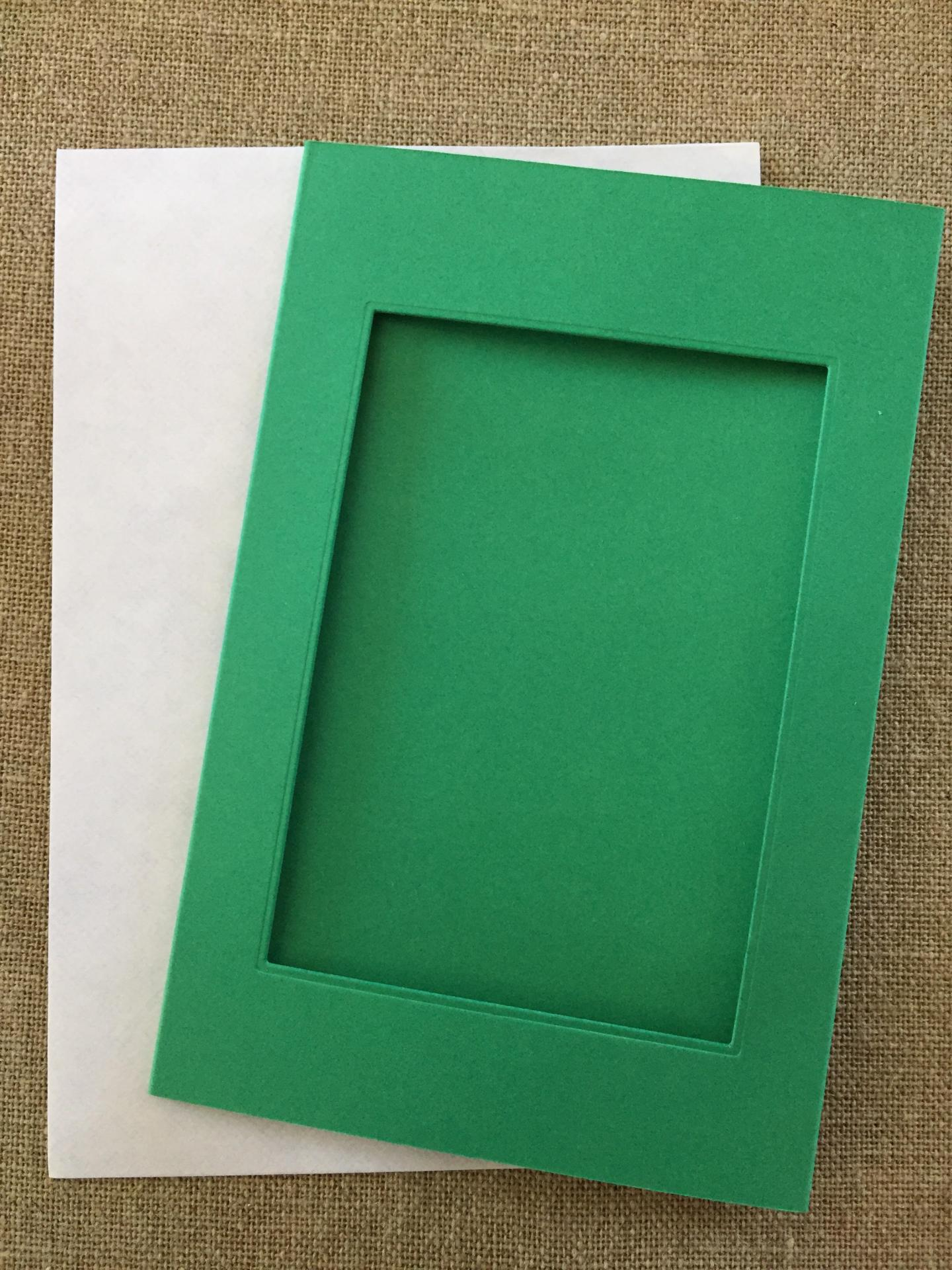 Carte a broder rectangulaire verte