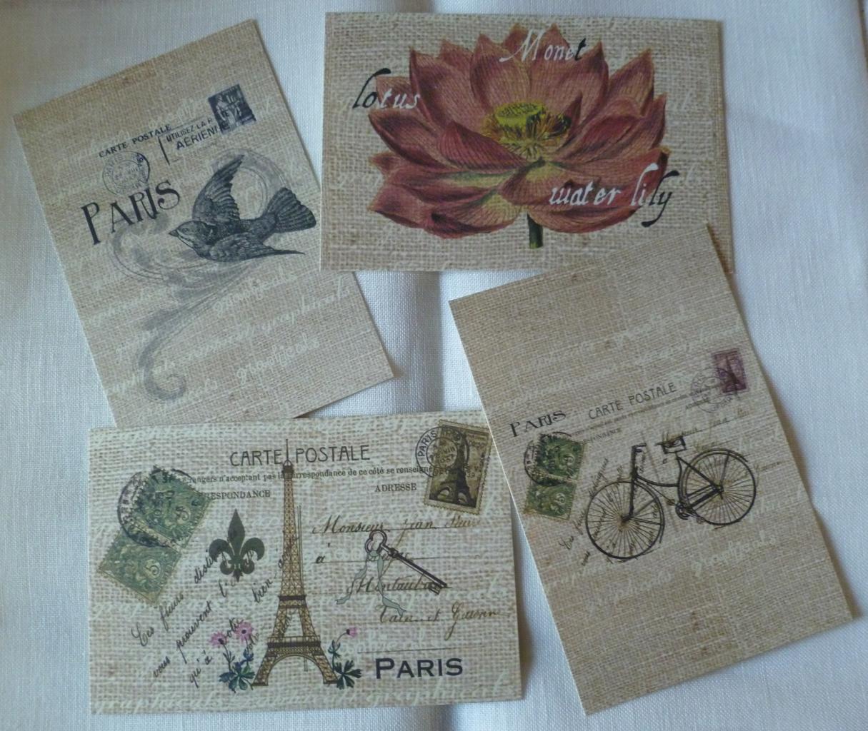 lot de 4 cartes postales vintages paris 10 x 15 cm 01. Black Bedroom Furniture Sets. Home Design Ideas