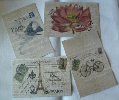 Lot de 4 Cartes Postales Vintages Paris 10 x 15 cm 01