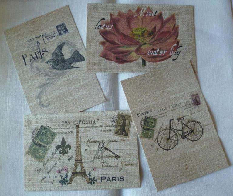 Lot de 4 Cartes Postales Vintages Paris 10 x 15 cm 01