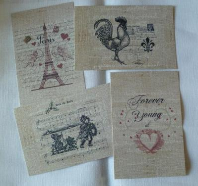 Lot de 4 Cartes Postales Vintages Paris 10 x 15 cm 02