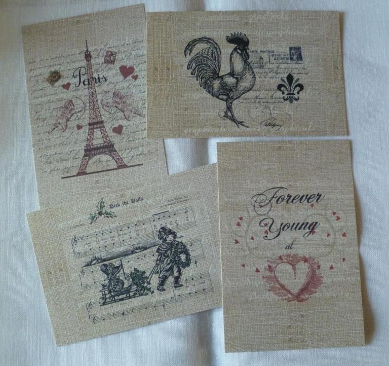 Lot de 4 Cartes Postales Vintages Paris 10 x 15 cm 02
