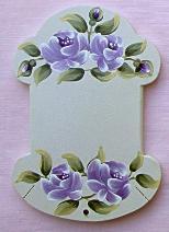 Cartonnette Ecru Roses Parme