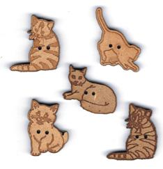 Lot de 5 Boutons Naturel Chat 2
