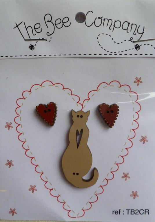 Coeurs rouges et chat lin TB2CR