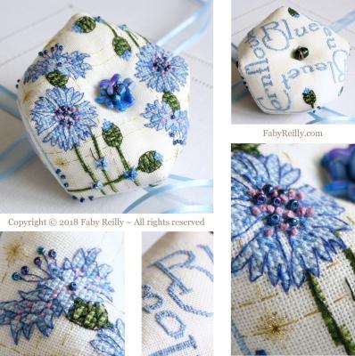Biscornu Bleuet - Faby Reilly Designs