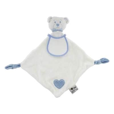 Doudou ours hochet ecru bleu