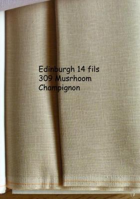 Toile à Broder Zweigart  de Lin Edinburgh 14 Fils Mushroom 309 (Champignon)