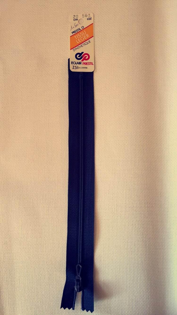 Fermeture eclair bleu marine 20cm