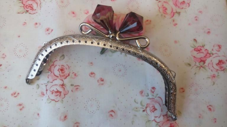 Fermoir Porte Monnaie Nickel avec Diamant en Cristal  Noir 12,5cm