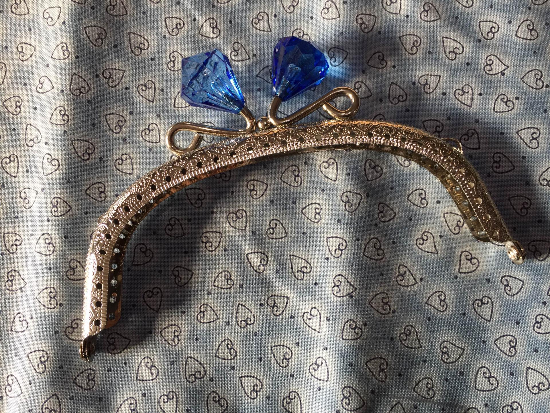 Fermoir porte monnaie nickel avec diamant en cristal bleu 12 5cm a