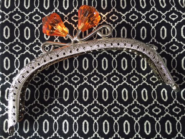 Fermoir porte monnaie nickel avec diamant en cristal orange 12 5cm a