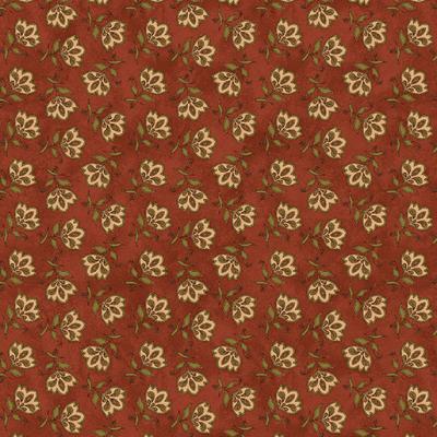 Tissu Patchwork Fleurs sur fond rouge foncé