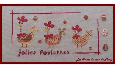 Jolies Poulettes + 3 perles Les Points de Croix de Mary