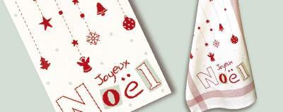"""Torchon """"Joyeux Noël' N036 Lilipoints"""