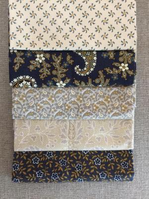 Lot de 5 Coupons de Tissus Bleus 45x55cm