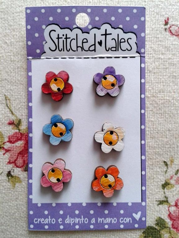 Lot de 6 Mini Boutons Fleurs B414-21