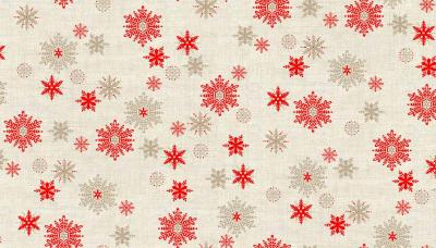 Tissus Patchwork Makower Scandi Snowflakes Red Hessian 1594