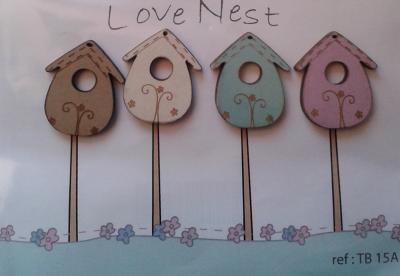 Lot de 4 Nichoirs ' Love Nest' TB15A