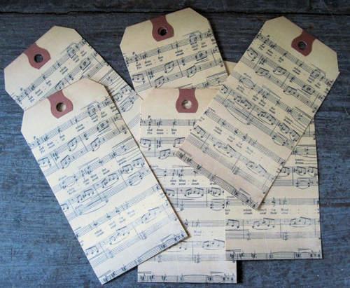 Lot de 6 Etiquettes Messages Musique
