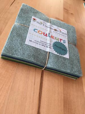 Assortiment de feutrine de laine 12 carrés de 15 x 15 cm PACIFIQUE