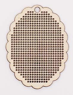 Etiquette Pendentif Oval en bois à broder