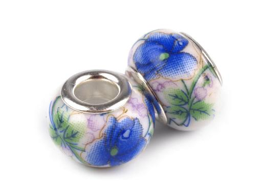Lot de 2 Perles Porcelaines Bleues 10x14 mm