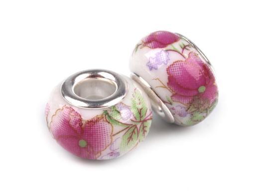 Lot de 2 Perles Porcelaines Roses 10x14 mm